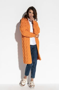 Casual Chic Outfits, Orange Cardigan, 50 Style, Elegant, Fashion, Classy, Moda, Fashion Styles, Fashion Illustrations