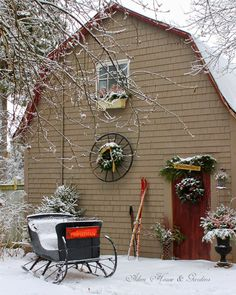 Aiken House & Gardens: north end of barn decked out for Christmas