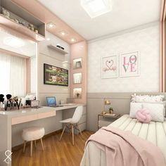 Room decor - Project @ architect leticiasantana And always a love project for girls ! Look at this room, has no charm With a lot of … architectleticiasa Home Room Design, Room, Home, Room Design Bedroom, House Rooms, Small Room Bedroom, Room Decor, Dream Rooms, New Room