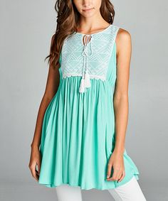 Loving this Mint Mint Lace-Panel Babydoll Dress on #zulily! #zulilyfinds