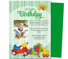 Toys Baby 1st Birthday Printable Invitation Template. Edits easily to your own details with Word, OpenOffice, Publisher, Apple iWork Pages