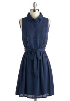 New to the Office Dress - Mid-length, Blue, Solid, Buttons, Eyelet, Scallops, Belted, Casual, Shirt Dress, Sleeveless, Collared, Cutout