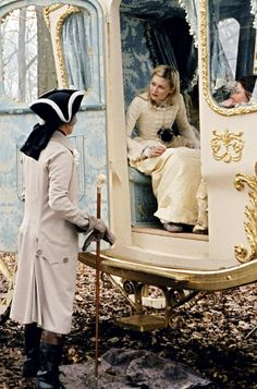 14-year-old Marie Antoinette arrives in France to meet her new husband, (offscreen) as seen in Sofia Coppola's movie