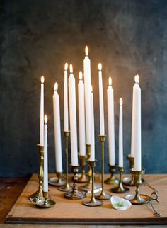 taper candles + brass candle holders //photo by ali harper Wedding Ceremony Ideas, Wedding Day, Gold Wedding, Reception, Chandelier Bougie, Deco Luminaire, Taper Candles, White Candles, Deco Design
