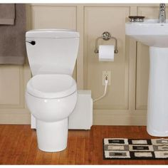 THETFORD Bathroom Anywhere 2-piece 1.28 GPF Elongated Toilet with Seat and 0.80 HP Macerating Pump in White-42819 - The Home Depot