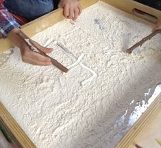 For this activity we used flour, however sand or foam could be used as an alternative. This activity encourages emergent writing skills and you could create shapes, patterns, numbers or letters, the learning opportunities here are huge! Writing Skills, Writing Activities, Activity Ideas, Mark Making, Numbers, Encouragement, Alternative, Letters, Shapes