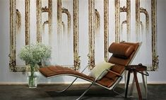 """Elitis Pleats Galerie Des Glaces creates an antique mirror effect on a panoramic mural wallpaper. Oversized wallpaper mural creates a dramatic effect. Free shipping!  Sold by 3 panels of 39.3"""" width X 118"""" height roll"""