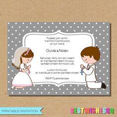 Twins First Communion Printable Invitation Confirmation Invite Girl Boy Twin Invite Digital File