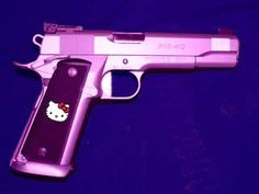 "Kit Marcel - A purple ""Hello Kitty"" gun is pretty close. Hello Kitty Gun, Goodbye Kitty, Purple Gun, Pink Guns, Combat Gear, Hello To Myself, Cool Guns, My Collection, Self Defense"