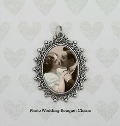 Vintage Look Silver Picture Frame Bouquet Photo Charm