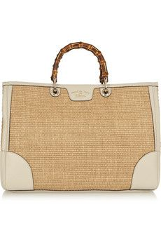 Gucci Bamboo Shopper large textured-leather and straw tote | NET-A-PORTER - http://www.net-a-porter.com/product/506970/Gucci/bamboo-shopper-large-textured-leather-and-straw-tote