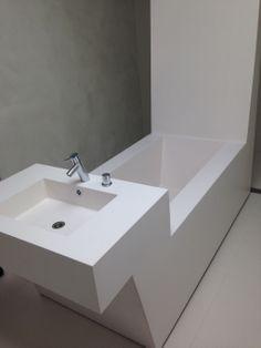 Custom Durat bath with integrated washbasin. Private residence Helsinki  Design: Roomy - www.roomy.fi