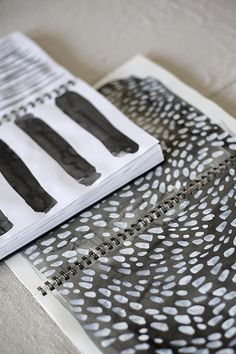 Art Sketchbook pages - textiles print design development with textural patterns // Rebecca Atwood