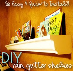 Rain Gutter Shelves... now that's something I wouldn't have thought of.   {Ishouldbemoppingthefloor.com}