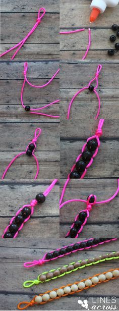 """Lines Across"": Neon and Wood Floating Bead Bracelet. Super smart putting glue on the ends."