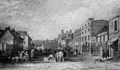 The town of Truro prospered greatly during the 18th and 19th centuries. Industry flourished thanks to improved mining methods and higher prices for tin, and the town soon became the place to be for wealthy mine owners (from wikipedia). Pictured: Boscawen Street in 1810.