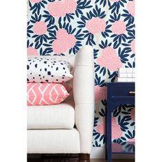 navy fleur chinoise wallpaper