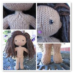 Grace Notes, like her namesake, is a small knit doll with lots of charm. She is knit in the round on dpns; tightly so her stuffing won't show. The doll takes approximately one ounce of light worsted yarn for the body, and variable amounts for the hair, depending on how you style it.