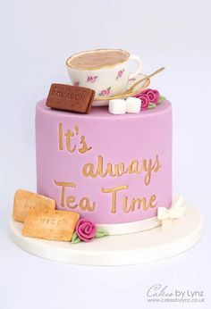 Vintage teacup and biscuits cake using sweetstamp - cake decorating tutorial by cakesbylynz Cake Decorating Techniques, Cake Decorating Tutorials, Beautiful Cakes, Amazing Cakes, Sunflower Cupcakes, Teapot Cake, Cake Show, Create A Cake, Mothers Day Cake