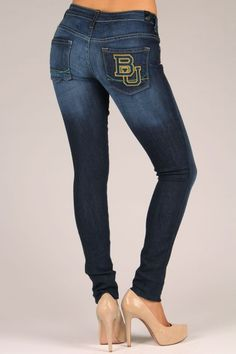 OCJ Apparel | Premium Collegiate Denim | Baylor Bears Skinny Jeans Branded in Deep Indigo | www.ocjapparel.com