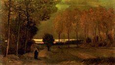 Autumn Landscape at Dusk, 1885 by Vincent van Gogh. Realism. landscape. Centraal Museum, Utrecht, Netherlands