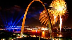 "Celebrate July Fourth at ""America's biggest birthday party"" under the Gateway Arch in St. Louis. The day kicks off with a 4-mile and 1-mile run, followed by a parade, air shows, concerts and, of course, fireworks."