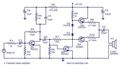 Transistor amplifier circuits which are very simple and easy to construct. Includes head phone amplifier, 4 transistor amplifier and a low power amplifier Electronics Projects, Diy Electronics, Electronic Kits, Electronic Engineering, Electrical Circuit Diagram, Speaker Plans, Power Supply Circuit, Diy Tech, Stereo Amplifier