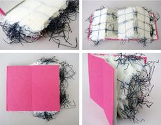A Handmade Book incorporating Shifu paper Yarn - Handmade Shifu paper yarns made of handmade, Korean hanji paper and Nepalese lokta paper (brown) lie between superthin and tranlucent layers of abaca paper. The covers of the books are bound in handmade abacca paper (white-natural) and Japanese washi paper (pink). - PaperPhine