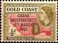 Sello: Map (Ghana) (Independence, stamps from Goldcoast) Mi:GH 5,Sn:GH 5,Yt:GH 1,Sg:GH 170