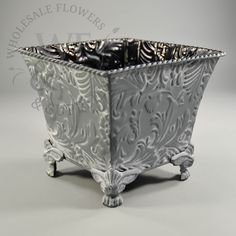 Pressed metal planter - Wholesale Flowers and Supplies Decorative Planters, Metal Planters, Wholesale Flowers And Supplies, Pressed Metal, Centerpieces, Container, Mary, Wedding Ideas, Center Pieces