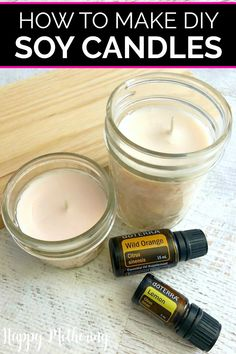 Learn how to make DIY soy wax candles in this easy tutorial. Making affordable homemade candles in mason jars is fun and you can scent them with essential oils. Beeswax Candles, Candle Wax, Diy Candles, Scented Candles, Making Candles, Essential Oil Candles, Essential Oil Scents, Homemade Soy Candles, Candlemaking