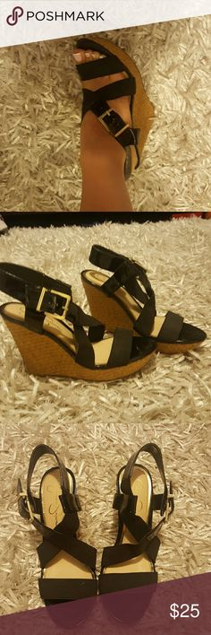Jessica Simpson wedges Black spandex material around foot. Silver hardware for buckles. Like new condition! Zero signs of wear!! Jessica Simpson Shoes Sandals