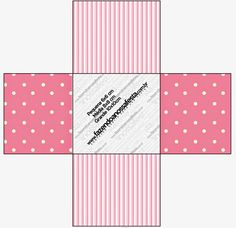 Rayas y Lunares Blanco y Rosa: Cajas para Imprimir Gratis.