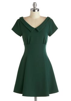 Convivial Celebration Dress, #ModCloth-- Tonight, your senses are alive with delight - laughter and merry music fills your ears, while delicious hors d'oeuvres and sparkling champagne please your palate, and jovial party-goers dance cheerfully before your eyes. Just as pleasant a sight is your forest green A-line dress!