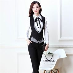 De Mujeres Oficina Elegante 2014 Formal La Trajes Chaleco Con Para Pantalones Mujer p0nZwq5