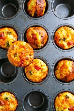 Cottage Cheese and Egg Muffins with Ham and Cheddar Cheese (Tried this with Feta, Green Onion and Red Pepper, needed salt and more onion.)