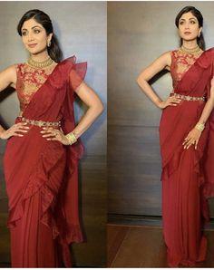 Saree Wearing Styles, Saree Styles, Fancy Sarees, Party Wear Sarees, Indian Dresses, Indian Outfits, Western Outfits, Saree With Belt, Sari Design