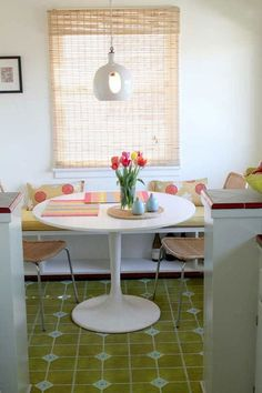 Substitute a rectangular table and bench for more seating space.