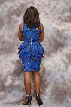 African print short dress, knee length, african clothing, african dress, african…