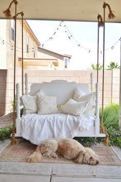 My Vintage Porch – Interior Design, DIY, and Refurbishing Baby Crib Mattress, Baby Cribs, Crib Swing, Swing Beds, Vintage Porch, Vintage Decor, Diy Bett, Diy Crib, Diy Bed Frame