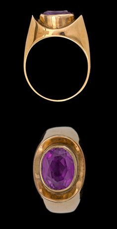 RING, oval cut amthyst.  14k gold. I like the way the bezel/collet is set into the ring.