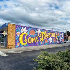 Beatles Lyrics for Public Art Murals Street Art, Graffiti Wall Art, Mural Wall Art, Mural Painting, Street Art Graffiti, Painting Furniture, Scratchboard Art, School Murals, Easy Canvas Art
