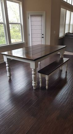 """6'x45"""" Baluster Table in Dark Walnut stain and Ivory paint with a traditional top and endcaps and a matching Dianne bench!"""