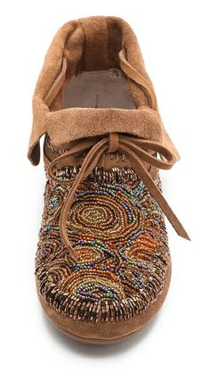 House of Harlow 1960 Mallory Moccasin Booties // cool beading