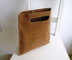 Cognac/Camel Vegan Leather Flat Handbag by rutinet on Etsy