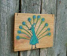 Original Peacock Primitive Funky Folk Art Painting On Oak Slab Wood