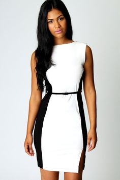 Leah Contrast Panel Illusion Bodycon Dress Maxi Šaty 137c0773e9