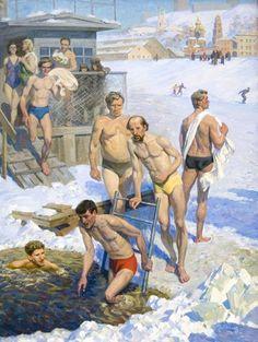 1960's 'Walruses-3', by Gennady Grishin (Vyksa, Nizhny Novgorod region 1932~2009)