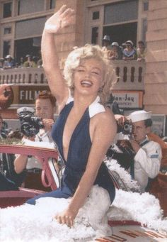 Marilyn Monroe as Grand Marshall leading the Miss America Parade in Atlantic City, 2 September 1952
