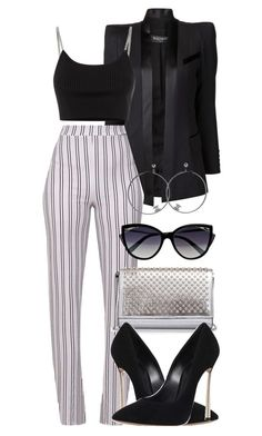 """Outfit#4"" by mane-forever on Polyvore featuring Balmain, La Perla, Chanel, Christian Louboutin, Alexander Wang and Casadei"